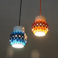 "70's ""National"" Makeoverd Pendant Lamp from Wall Lamp(Blue & Orange)"