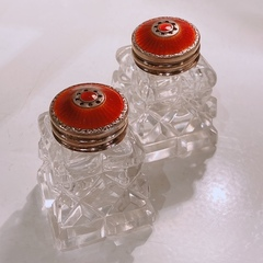 "Norway ""David Andersen"" Stering Silver × Enamel Salt & Pepper Set"