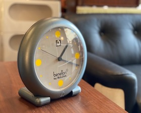 """80's France Made """"benetton by BULOVA"""" Stand Clock"""