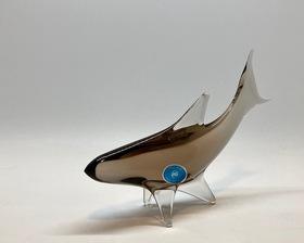 """70's Czech """"Miroslav Klinger"""" Design Glass Fish Sculpture"""