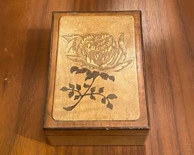 薔薇象嵌 指物工芸 小箱