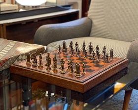 "Italy ""Lorenzini"" Chessmen & Marcello Chess Board / Box Set"