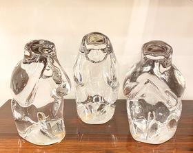 佐々木ガラス「見ザル聞かザル言わザル」三猿 置