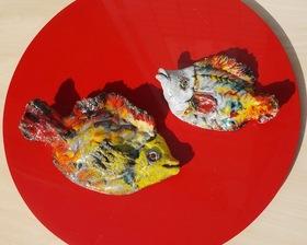 "70's ""森正(森正美)""作 ""SEYEI / 瀬栄陶器"" 魚の壁飾り"