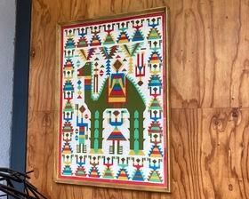 Vintage Central America Folk Art Print Fabric with Frame