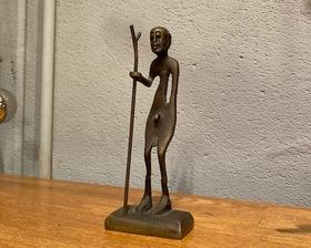 "Solid Brass Primitive Art Sculpture ""Warrior"""