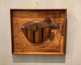 60's 日本「フグ」木彫アート額