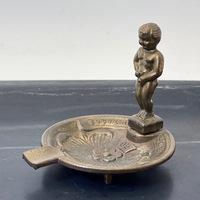 """Antique Belgium Bruxelles """"Manneken Pis"""" Brass Ashtray"""