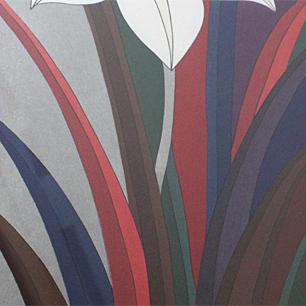 粟津潔 木版画「花札想:五月菖蒲」