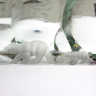 Glass Art Suclpture <br>「Wondering Polar Bear」