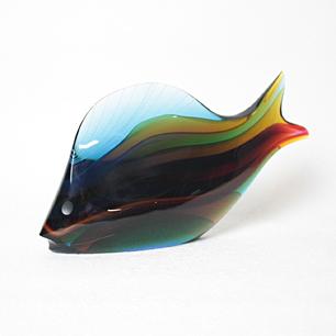 ExBor Glass Fish Sculpture<br>「Blue&Multi Color」