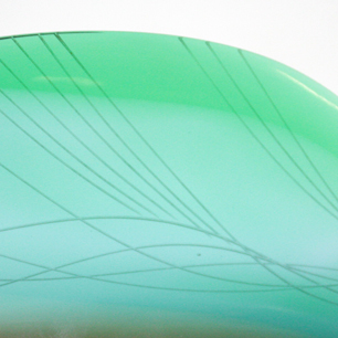 ExBor Glass Fish Sculpture<BR>「Green & Amber Long Fish」