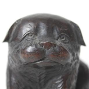 「和犬:狆」木彫