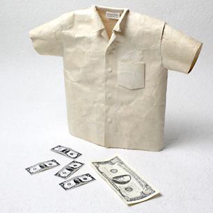 和紙アートのシャツ