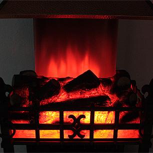 揺れる炎の英国式温風暖炉