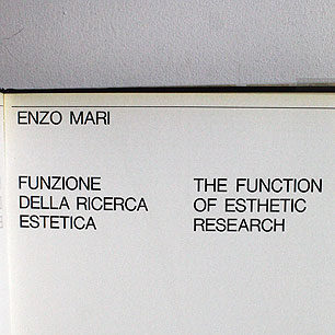 1970 Milano ENZO MARI <br>THE FUNCTION ESTHETIC RESEARCH