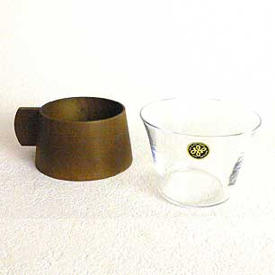 60's Wooden Holder Glass Cup