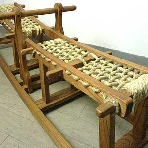 楢材 木工シーソーベンチ