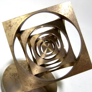Atomic Layer Cube Brass Sculpture