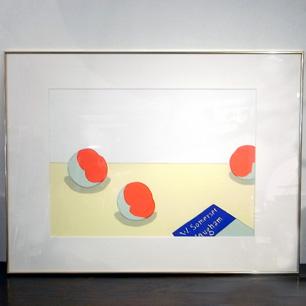 安西水丸 卓上の静物画「すもも」