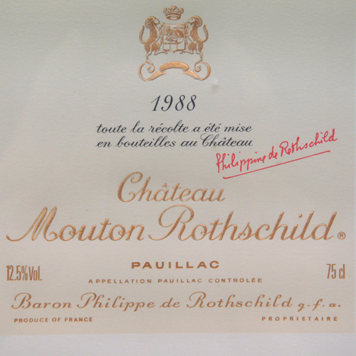 Château Mouton-Rothschild 1988 Label-Lithograph by