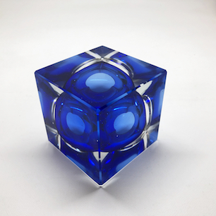 Cubic Glass Sculpture with Blue Hole
