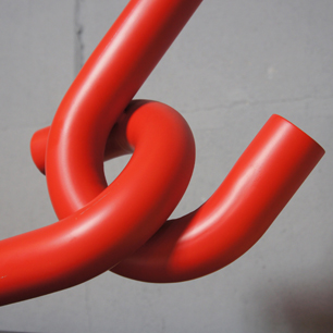 Metal Abstract Sculpture (Connected Red Tube)