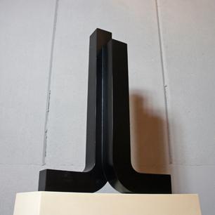 Metal Abstract Sculpture (Rising Black Pillar)