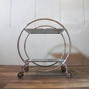 1930's England Chrome × Mirror Art Deco Bar Trolley