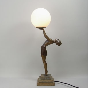 French Art Deco Figurine Lamp