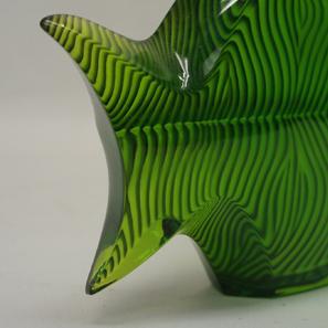 Baccarat Crystal Green Fish Sculpture