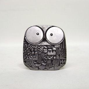 Pewter Owl Objet-big eyes