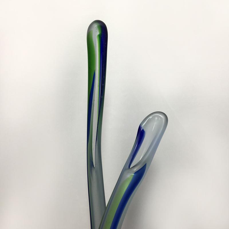 淺原千代治 小樽吹きガラス 鳥オブジェ/花器