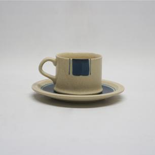 70年代 知山陶苑 安藤光一デザイン 染付コーヒー C/S