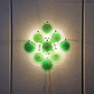 70's Murano Glass Disc Wall Lamp by LUMICO