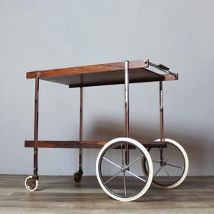60's Euro Vintage Rosewood Bar Cart / Wagon