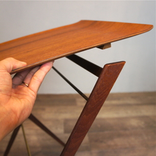 Danish Teak Magazine Rack Modified Folding Table
