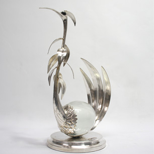 The Bird Made of Italian Silver & Murano Glass