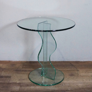 80's Design Mold Glass Coffee Table & High Table
