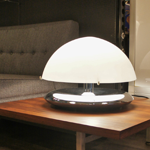 70's Italian Glass Shade Table Lamp
