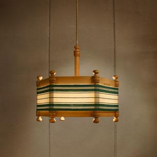 70's Finland Pine Frame Hexagonal Lamp
