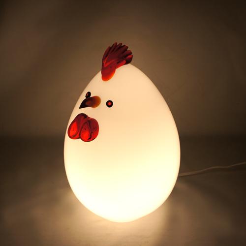 岩津硝子 ガラス工芸ランプ 「にわとり」