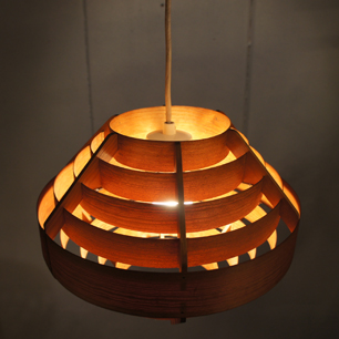 70's Vintage Sliced Pine Shade Pendant Lamp