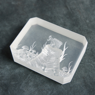 1976 Etched Lucite Sculpture by