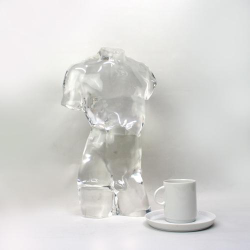 Lucite Art Sculpture of Male Torso