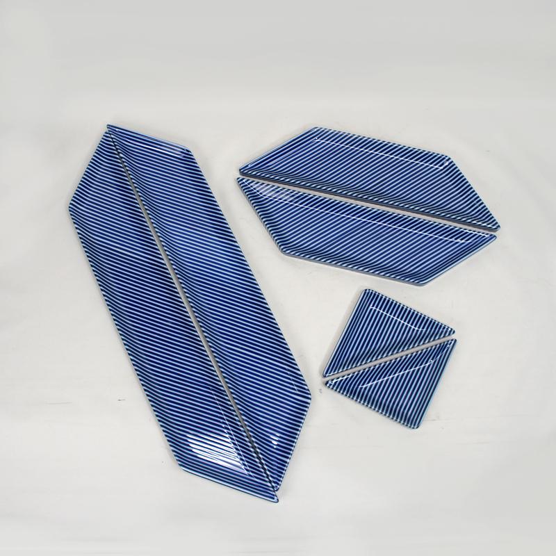 白山陶器 森正洋デザイン<BR>「A型6点パーティーセット/ブルーストライプ」