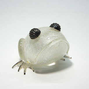 Italy Murano Vintage Glass Figure「Frog」Pair Set