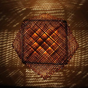60's 籐編 工芸テーブルランプ