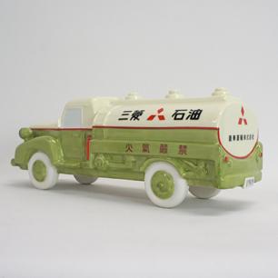 50's レトロ 三菱石油タンクローリー 陶製オブジェ
