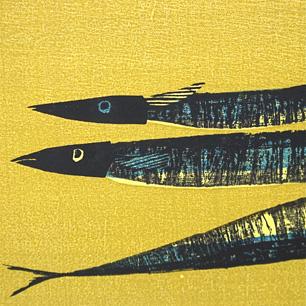 高木志朗 木版画「さんまと茄子」